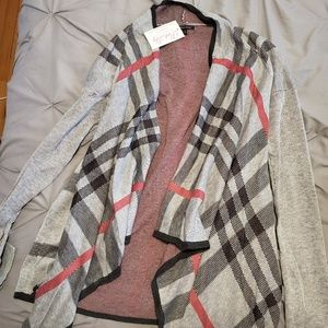 Pink Lily Plaid Cardigan